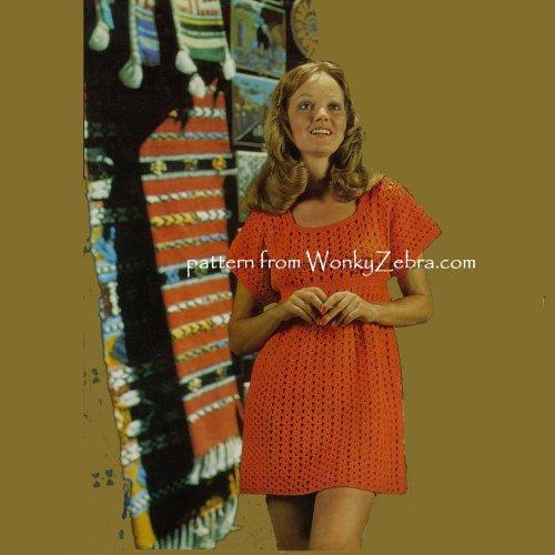 d028eeb8d323a WZ191 Empire Line Mini Dress Vintage Crochet Pattern PDF 00191.  wonkyzebra_00191_a_empire_line_mini_dress