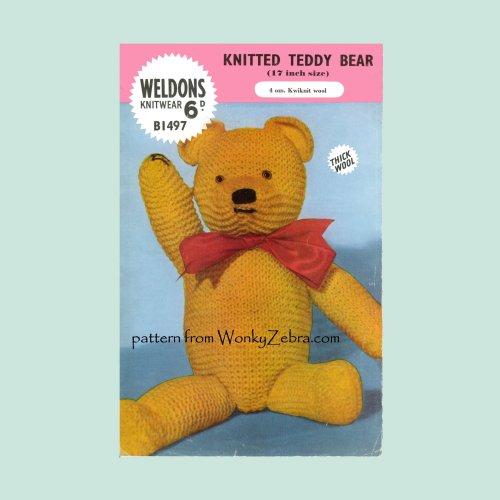 Wonkyzebra Wz464 Weldons Knitted Teddy Bear Toy Knitting Pdf