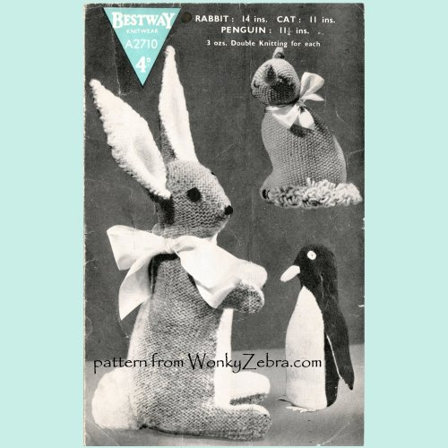 Wonkyzebra Wz549 Bestway Rabbit Cat Penguin Toys Vintage Knitting