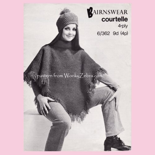 ccf04dbd59dad WZ806 60s Knitted Poncho and Hat Vintage Knit Pattern Patterns PDF 00806