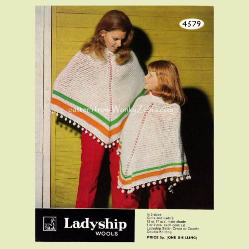 WZ812 Bobble Trim Mother and Daughter Crochet Poncho Vintage Crochet  Pattern PDF 00812