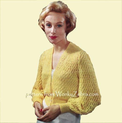 Wonkyzebra Wz963 Bed Jacket Cardigan Vintage Knitted Pattern Pdf 00963