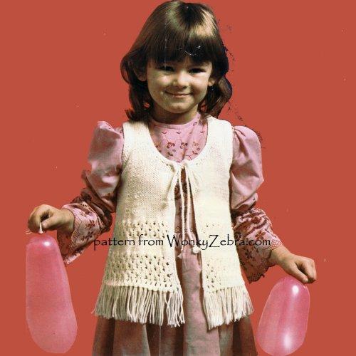 Wonkyzebra Wzb093 Girls Hippy Waistcoat Or Vest Vintage Knitting