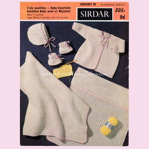 Wonkyzebra Wzb102 Baby Crochet Layette Vintage Crochet Pattern Pdf
